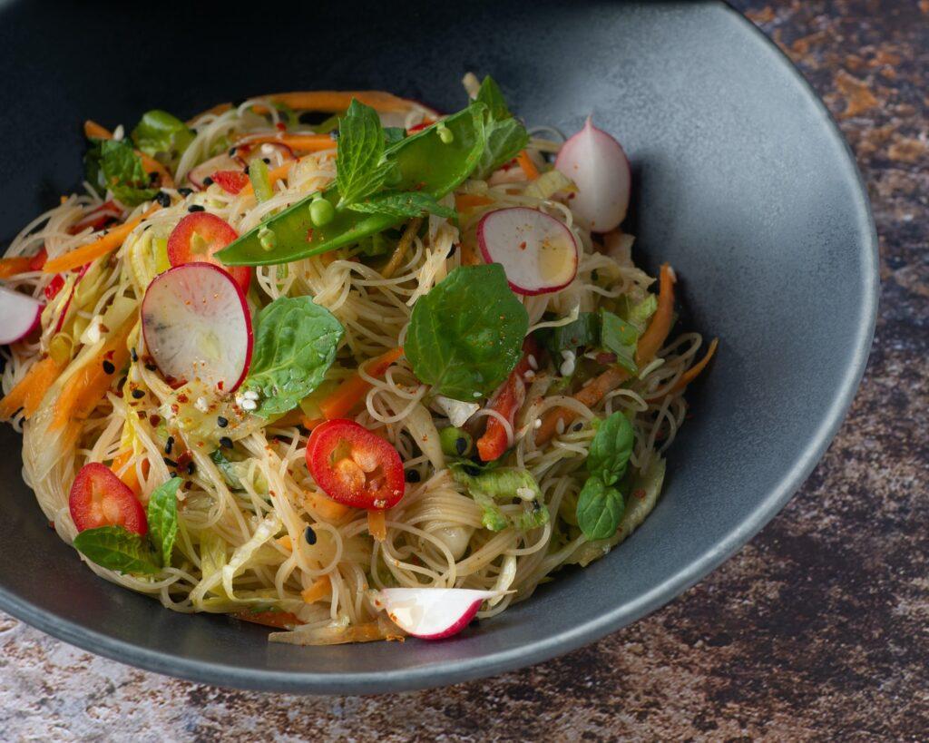 vegetable salad on stainless steel bowl