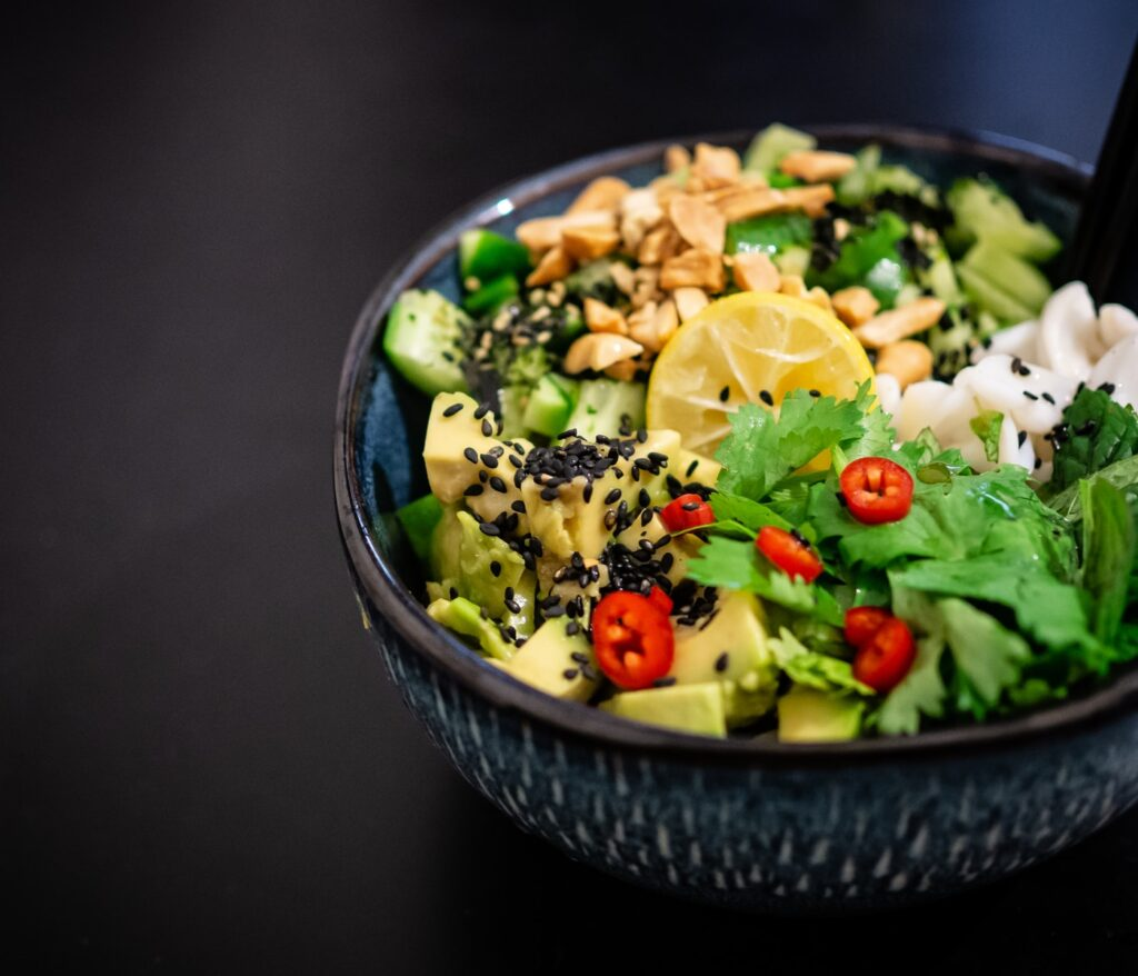vegetable salad in gray bowl